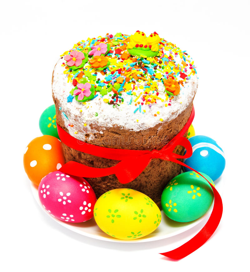 Dekorujący Easter tort, jajka odizolowywający i fotografia stock