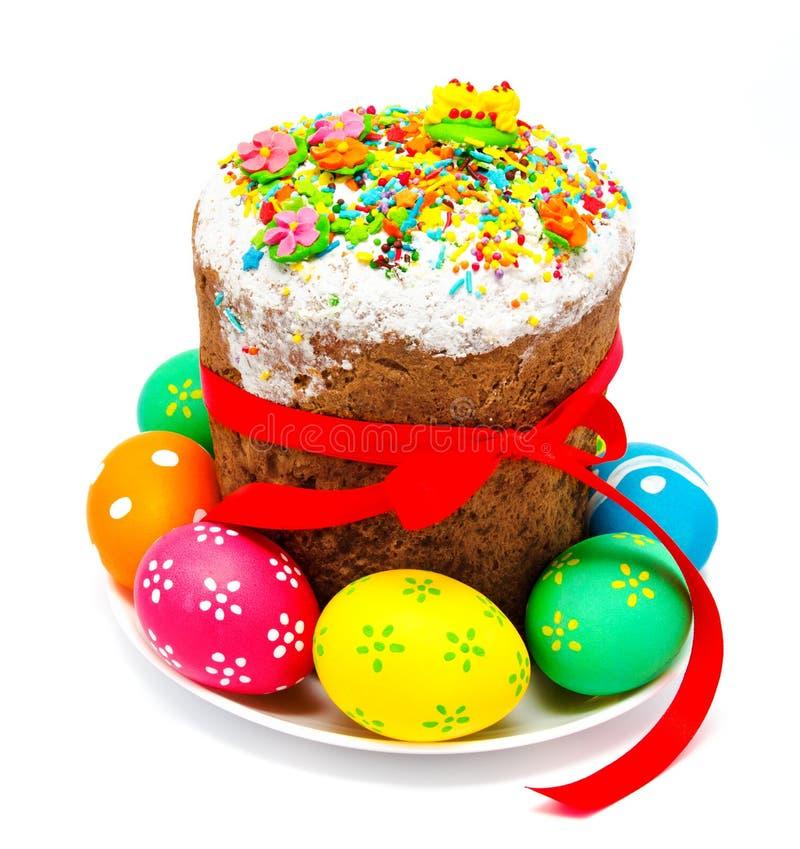 Dekorujący Easter tort, jajka odizolowywający i obrazy stock