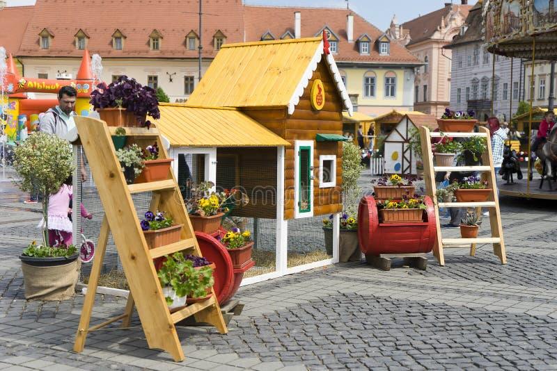 Dekorujący kwiatu sklep w Sibiu Rumunia zdjęcia stock