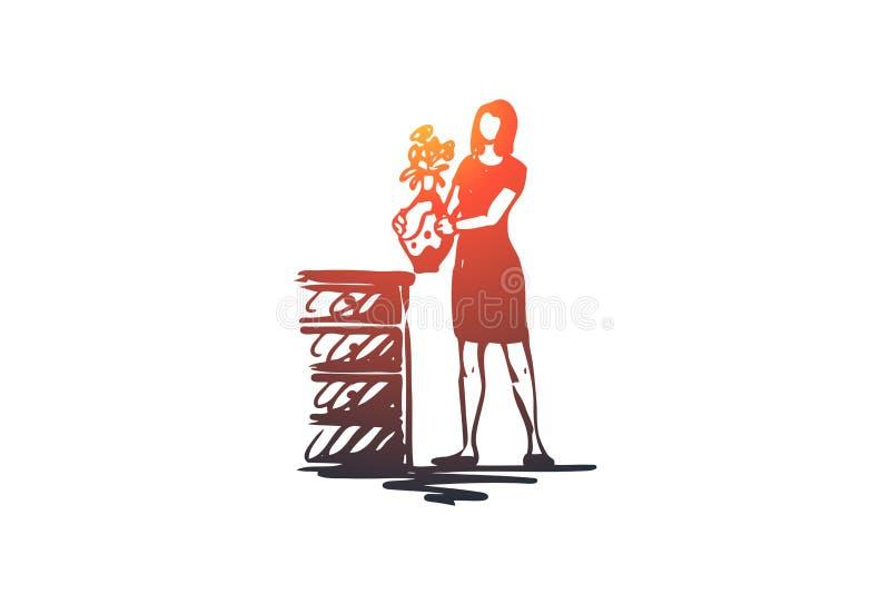 Dekorujący, kwiaty, kobieta, dom, wygodny pojęcie Ręka rysujący odosobniony wektor ilustracja wektor
