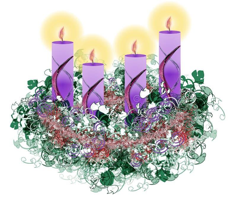 Dekorujący kwiecisty Adwentowy wianek z cztery nastanie świeczkami ilustracji