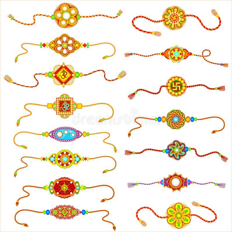 Dekorujący Rakhi dla Raksha Bandhan ilustracji
