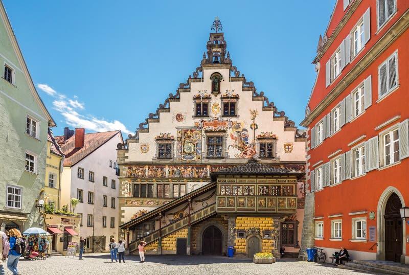 Dekorujący townhall w niemieckim mieście Lindau obrazy stock