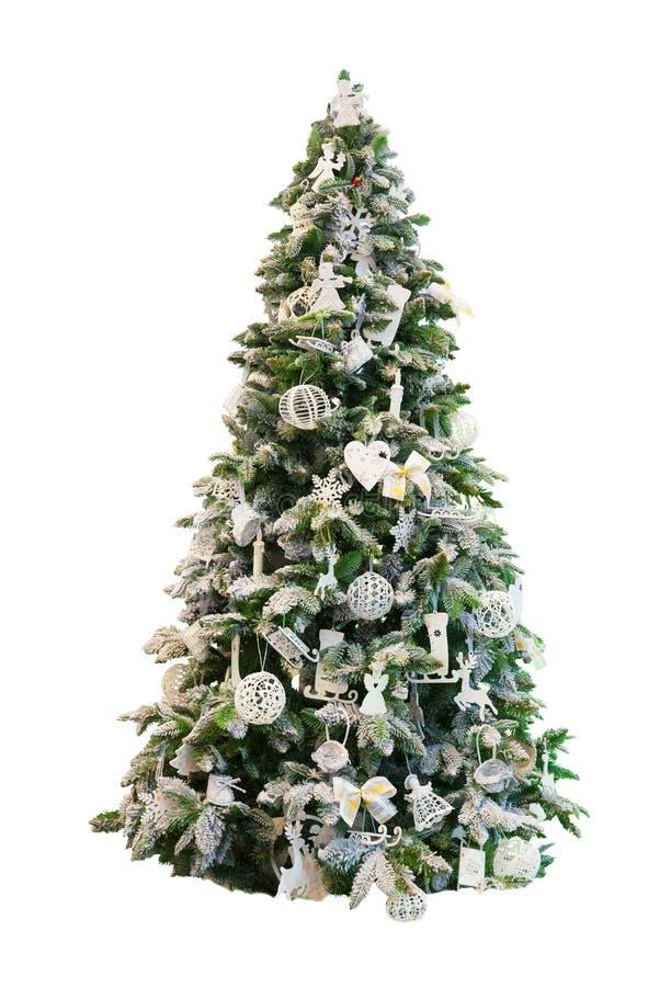 Dekorujący Xmas drzewo, biały tło fotografia stock