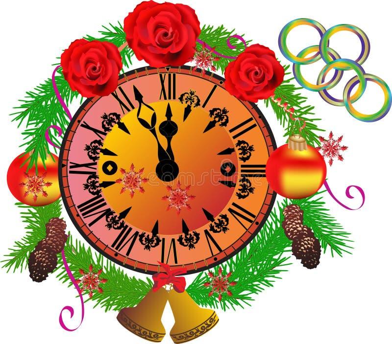 Dekorujący zegar odizolowywający na bielu royalty ilustracja