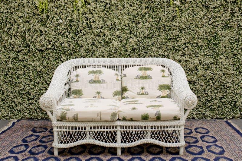 Dekoruje kanapę i dywan przeciw zielonej małej drzewo ścianie zdjęcie royalty free
