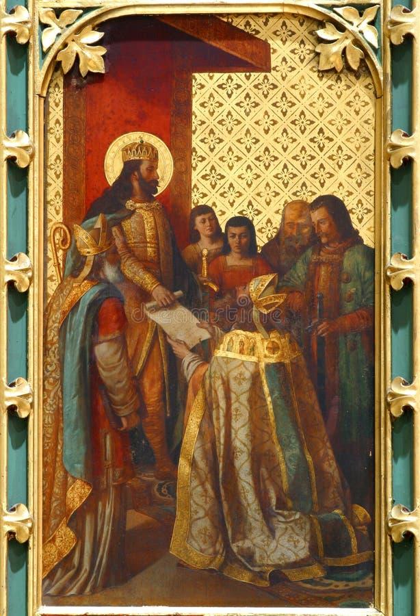 Dekretet för St Ladislaus ger den första biskopen av Zagreb royaltyfri fotografi