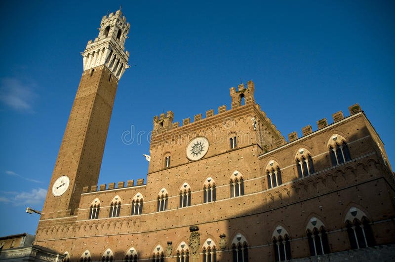 del意大利mangia siena torre 图库摄影