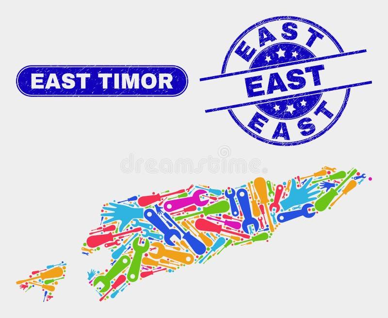 Del- Östtimor översikt och att bedröva östliga stämpelskyddsremsor vektor illustrationer