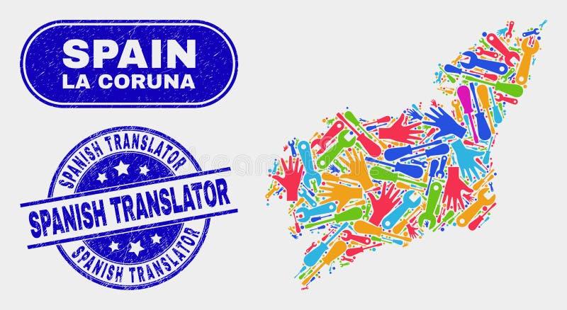 Del- översikt för LaCoruna landskap och att bedröva den spanska översättaren Stamp Seals royaltyfri illustrationer