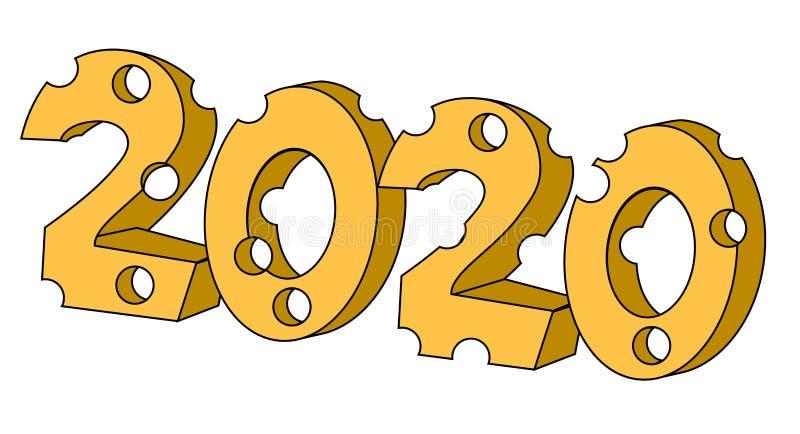 2020 del a?o de la forma del queso de la rata Ejemplo com?n aislado del vector ilustración del vector