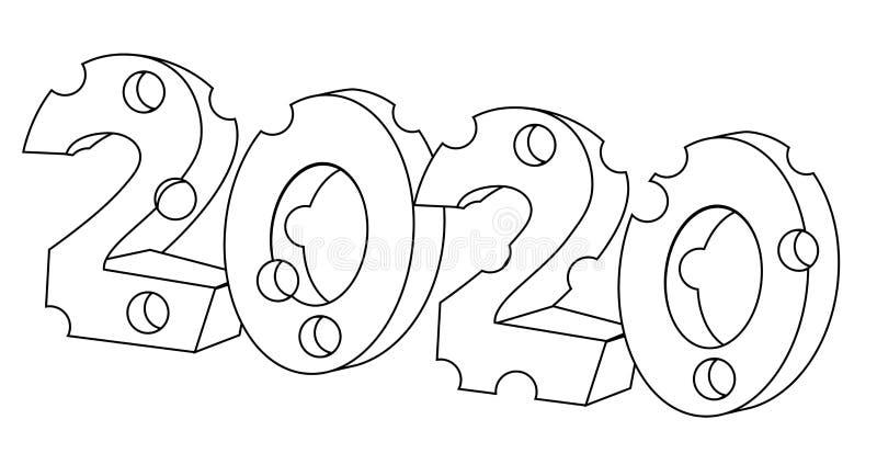 2020 del año del esquema de la forma del queso de la rata Ejemplo com?n aislado del vector stock de ilustración