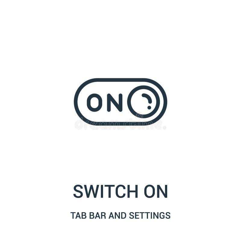 del accendere vettore dell'icona dalla barra della linguetta e dalla raccolta delle regolazioni Linea sottile del accendere illus illustrazione vettoriale