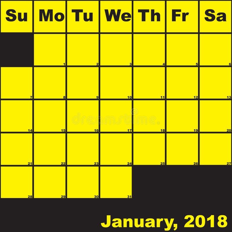 Del 2018 amarillo de enero en calendario negro del planificador stock de ilustración