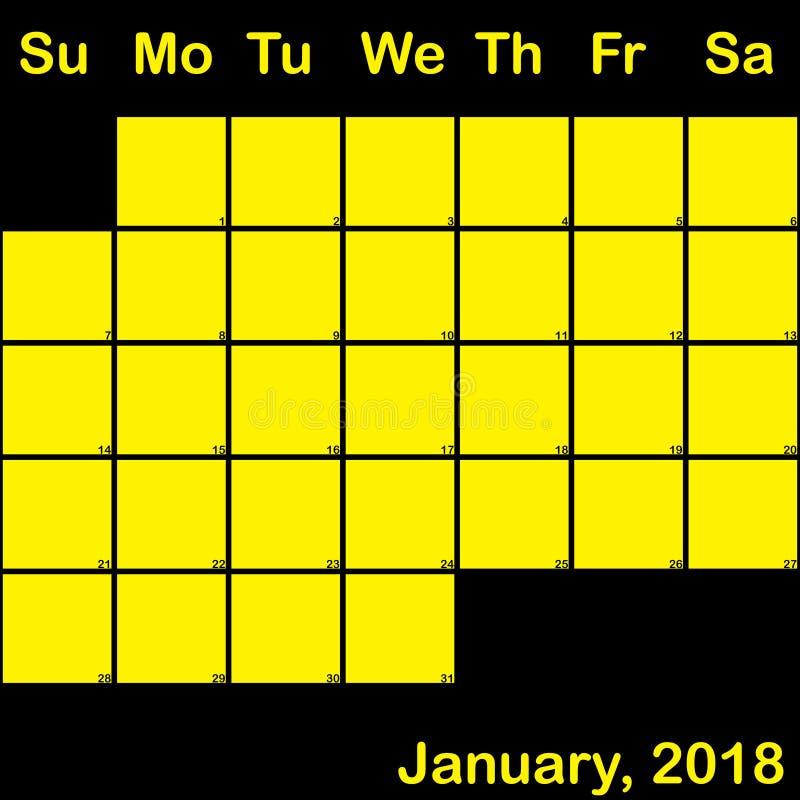 Del 2018 amarillo de enero en el calendario negro del planificador grande libre illustration