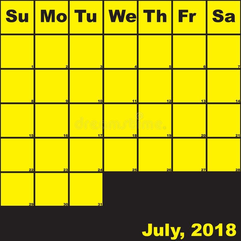 Del 2018 amarillo de julio en calendario negro del planificador ilustración del vector