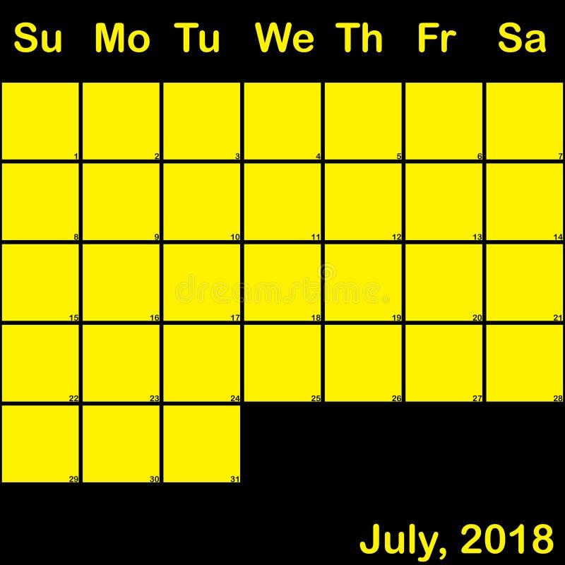 Del 2018 amarillo de julio en el calendario negro del planificador grande stock de ilustración
