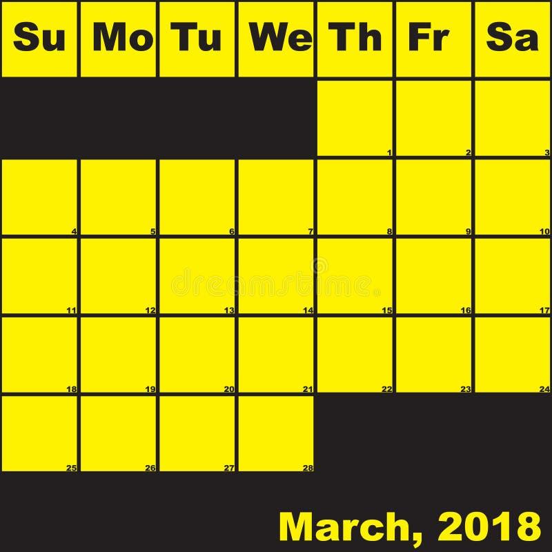 Del 2018 amarillo de marzo en calendario negro del planificador libre illustration