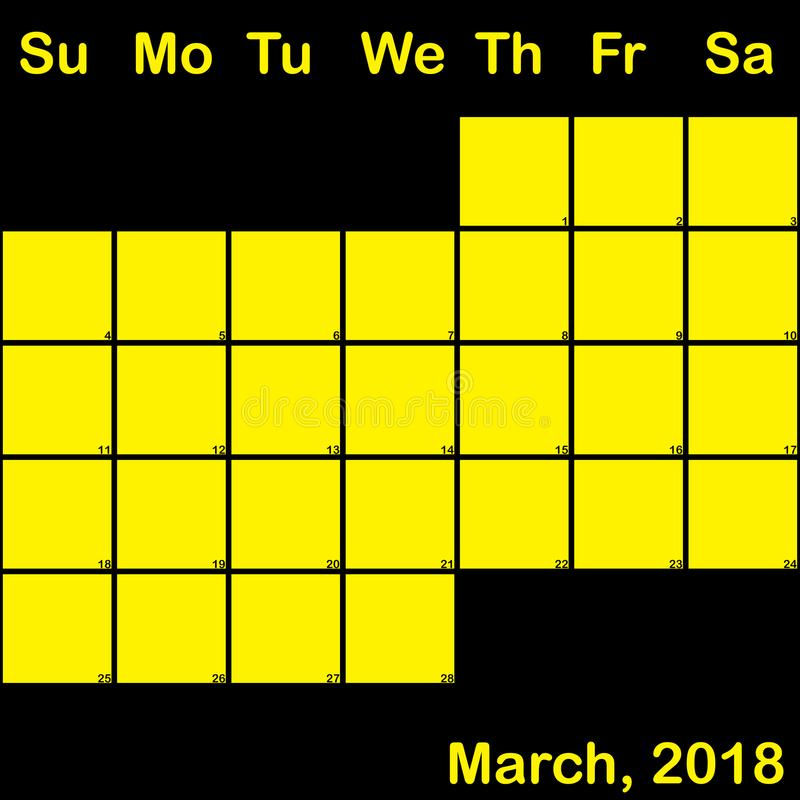 Del 2018 amarillo de marzo en el calendario negro del planificador grande stock de ilustración