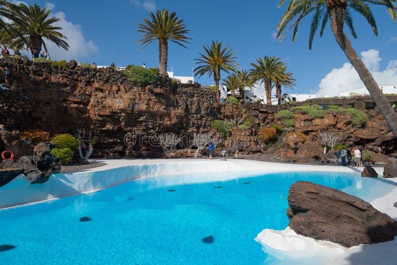 Del Aqua Lanzarote Spain de Jameos de piscine photos stock