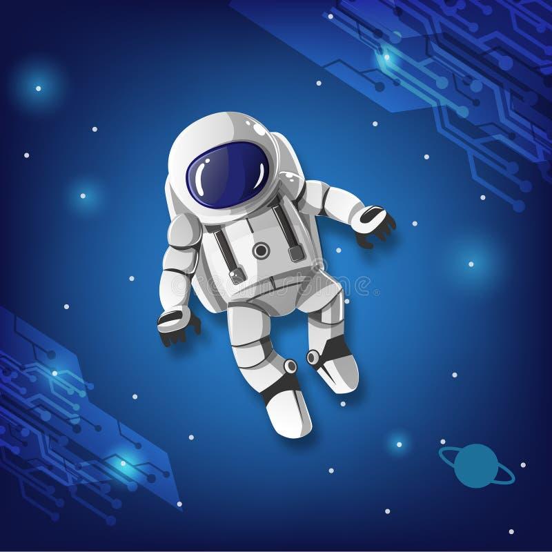 Del astronauta del muchacho vuelo espacial sin objetivo ilustración del vector