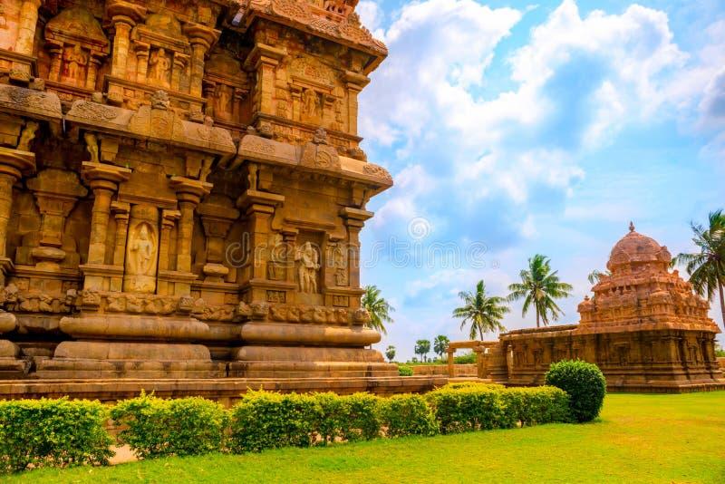 Del av den hinduiska templet för komplex arkitektur, forntida Gangaikonda C arkivfoto
