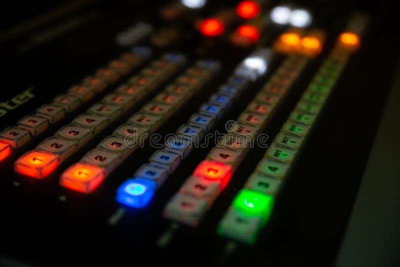 Del av den ljudsignal blandningen för yrkesmässig konsol arkivbilder