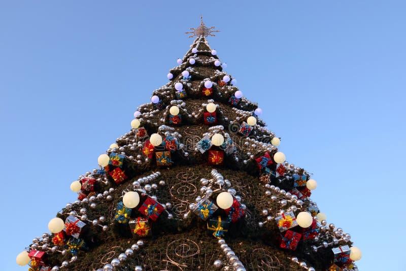 Del av den stora utomhus- julgranen royaltyfri fotografi
