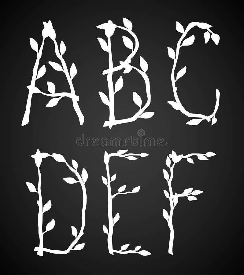 Del av det dekorativa alfabetet som göras av trädfilialer vektor illustrationer