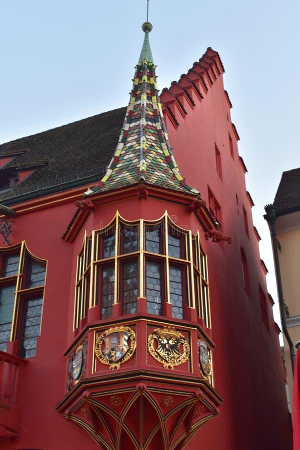 Del av det gamla huset i Freiburg i Tyskland royaltyfri fotografi