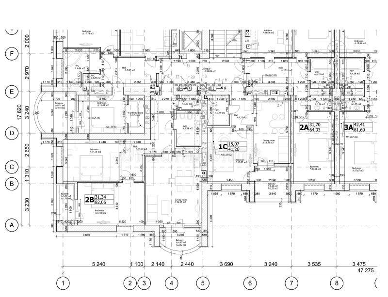 Del av ett detaljerat arkitektoniskt plan, golvplan, orientering, ritning vektor royaltyfri illustrationer