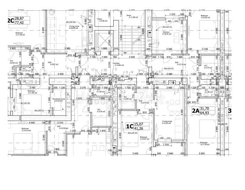 Del av ett detaljerat arkitektoniskt plan, golvplan, orientering, ritning vektor stock illustrationer
