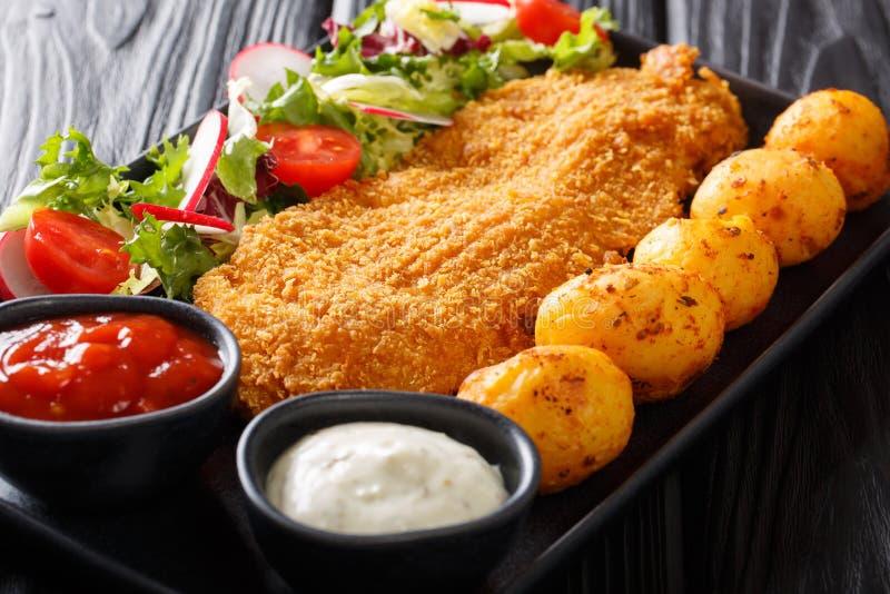 Del av fil?n f?r vit fisk, i att panera med nya potatisar och salladn?rbild f?r ny gr?nsak p? tabellen horisontal arkivfoton
