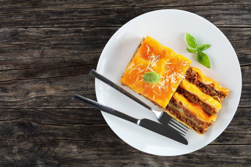 Del av italienska lasagner på plattan royaltyfri foto