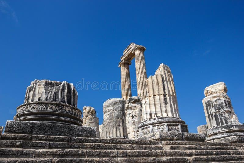 Del av kolonner i templet Apollo Didim arkivbild