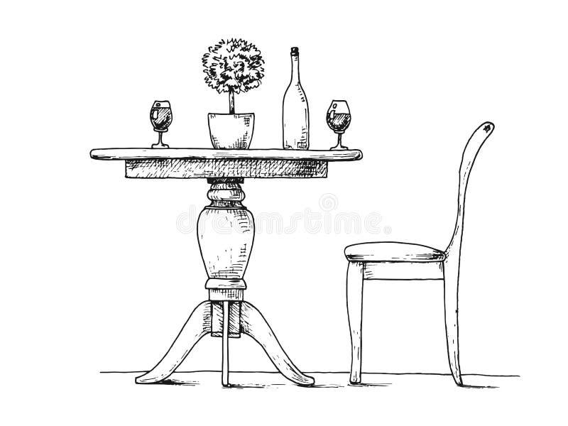 Del av matsalen chairs den runda tabellen På tabellvasen stock illustrationer