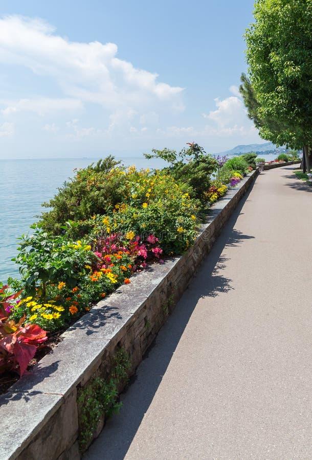 Del av promenad på Montreux VD royaltyfria bilder