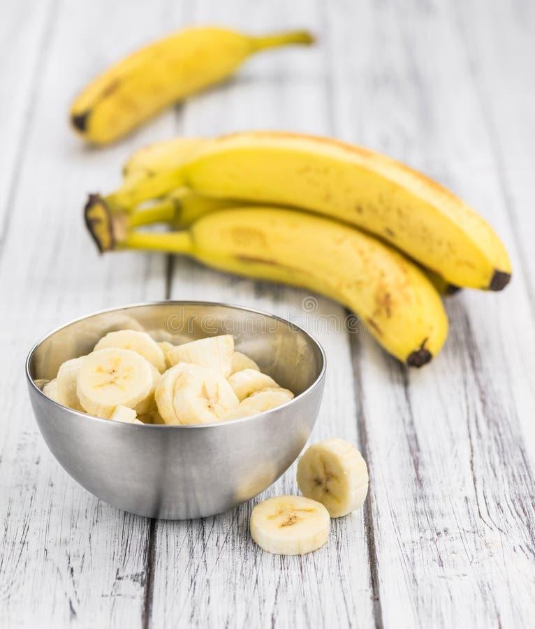 Del av Sliced bananer, selektiv fokus arkivfoton
