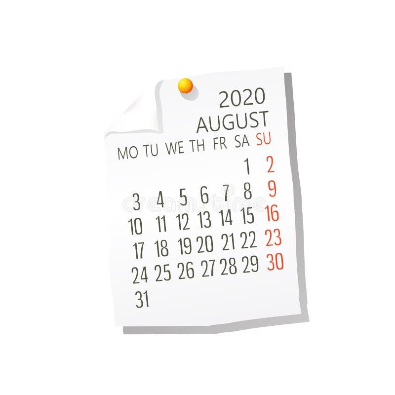 Del 2020 calendario de agosto stock de ilustración