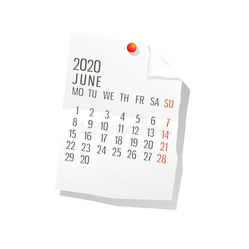 Del 2020 calendario de junio stock de ilustración