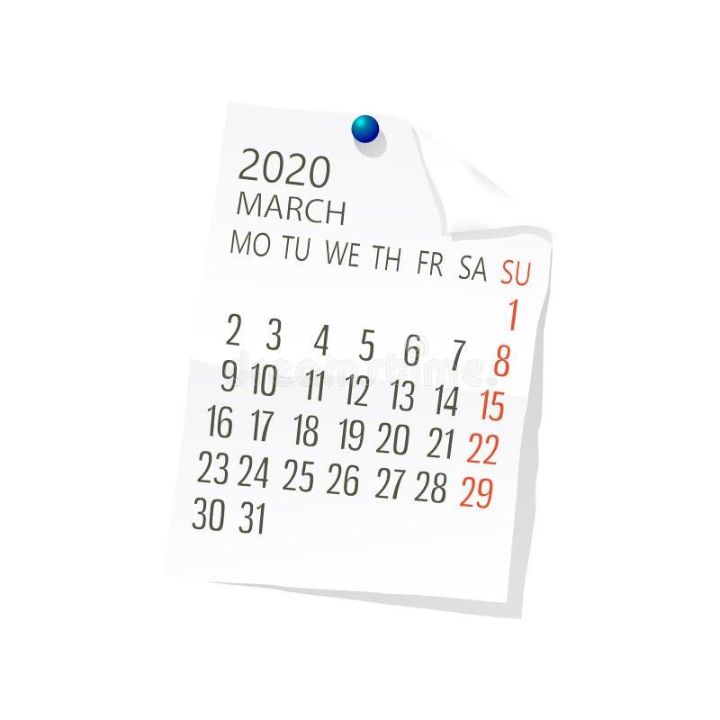 Del 2020 calendario de marzo ilustración del vector