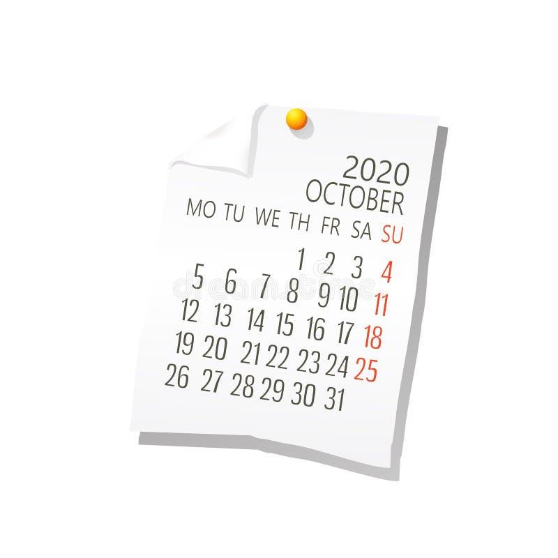 Del 2020 calendario de octubre stock de ilustración