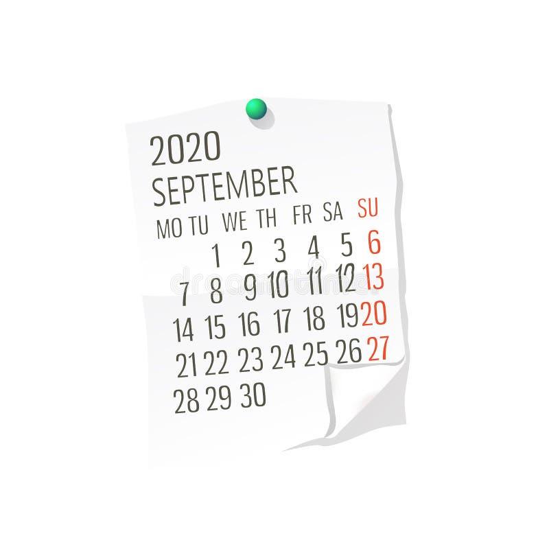 Del 2020 calendario de septiembre stock de ilustración