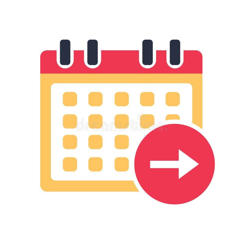Del calendario vector del icono el día siguiente, símbolo del evento Símbolo del orden del día en la Florida stock de ilustración