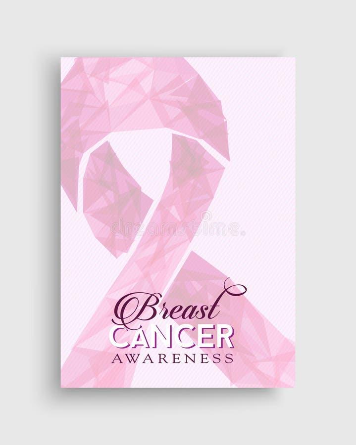 Del cancro al seno di consapevolezza di rosa poli manifesto dell'arco in basso illustrazione di stock