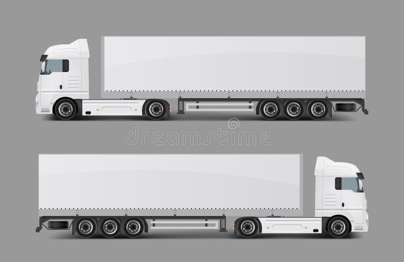 Del cargo camión semi con vector realista del remolque stock de ilustración