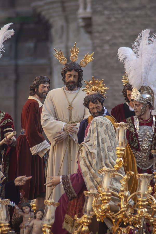 Del Carmen Painful Holy Week de la fraternidad en Sevilla fotografía de archivo