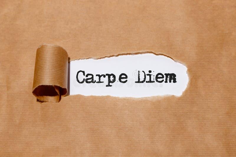 ` Del ` carpe diem escrito por la máquina de escribir detrás del papel rasgado imágenes de archivo libres de regalías