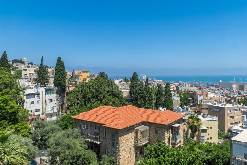 Del centro, il porto e il Bahai shrine, Haifa fotografie stock libere da diritti