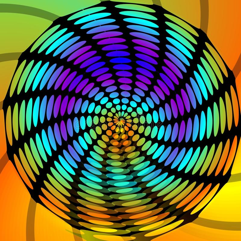 Del cerchio la forma psichedelica swirly disegno nero con - Arcobaleno a colori e stampa ...